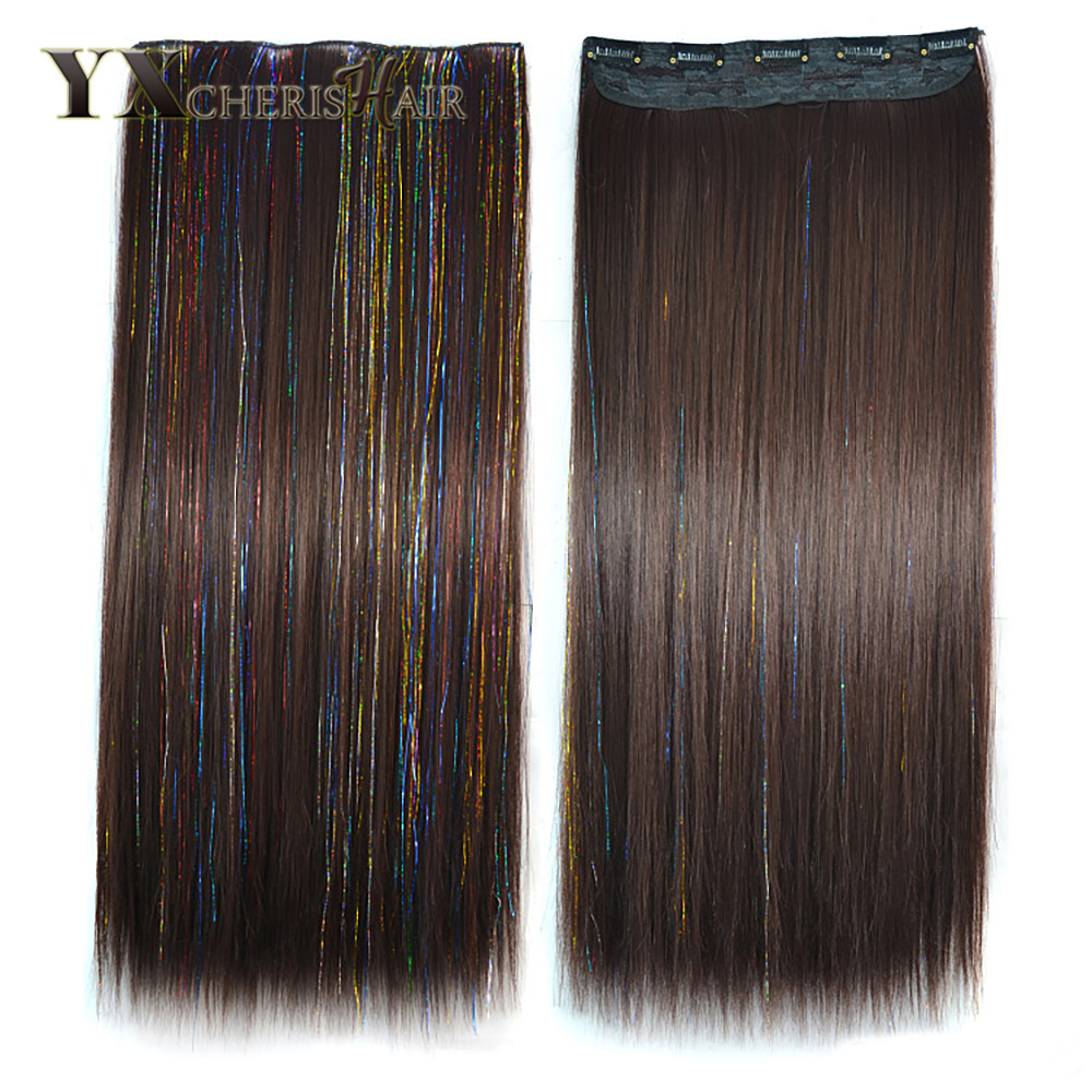 YXCHERISHAIR 60cm Long Colored Straight Hair Womens Clip in Hair Extensions Black Brown High Tempreture Synthetic Hair Piece