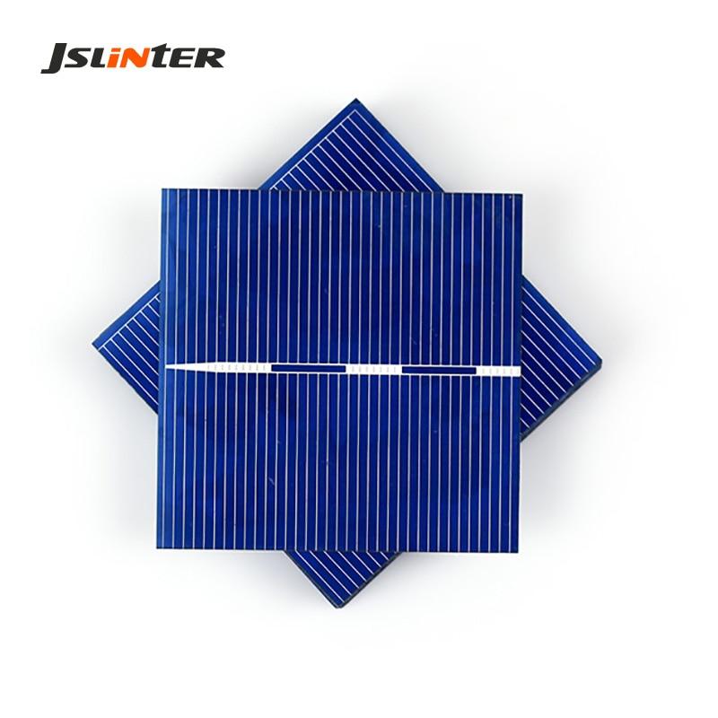JSLINTER 50pcs Polycrystalline Solar Panel Cells 0.5V 0.49W Silicon Battery for DIY The Poly mini Toys Solar Panel Price Cheap