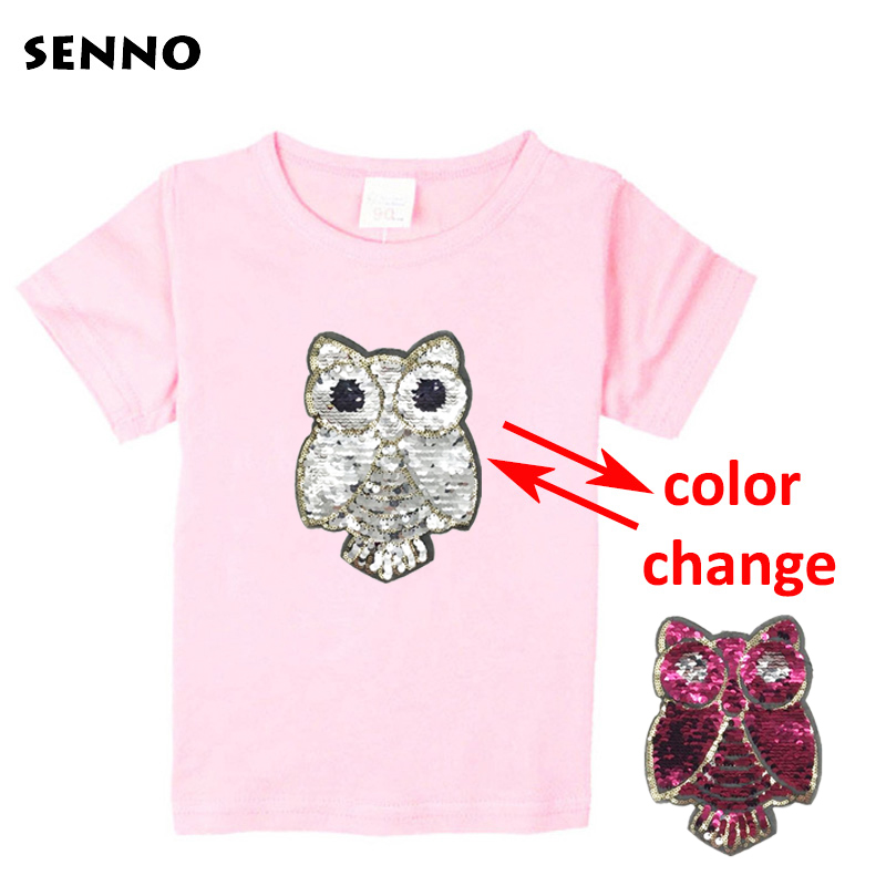 2e208f6d2 Girls Summer Tee Shirts Fashion Changeable Sequins T-shirt Kids Girls T- Shirts For Girls Teenage Girls Clothing 4 6 8 12 Years