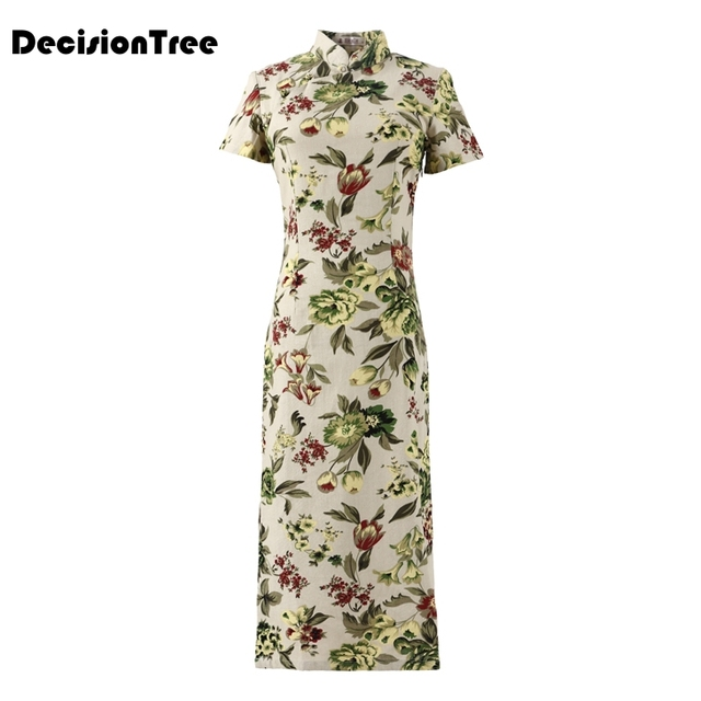 2019 summer Floral print chinese traditional women dress silk satin cheongsam sexy v neck qipao floral chinese qipao dresses