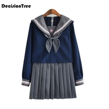 2019 jk uniform japanese navy cosplay school uniforms preppy cute girls sailor suit sets students bow tie pleated skirt japanese school uniforms anime cos sailor suit tops bow tie skirt jk navy style students clothes for girl short sleeve