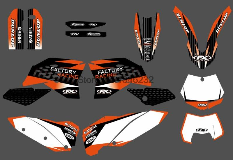 TEAM GRAPHIC DECALS STICKERS WITH MATCHING BACKGROUNDS FOR KTM 125 200 250 300 350 450 530 SX SXF 2007-2010 EXC XCF 2008-2011 0584 new team graphics with matching backgrounds for ktm 125 200 250 300 450 500 exc xc w xcf w six days 2014 2015 2016