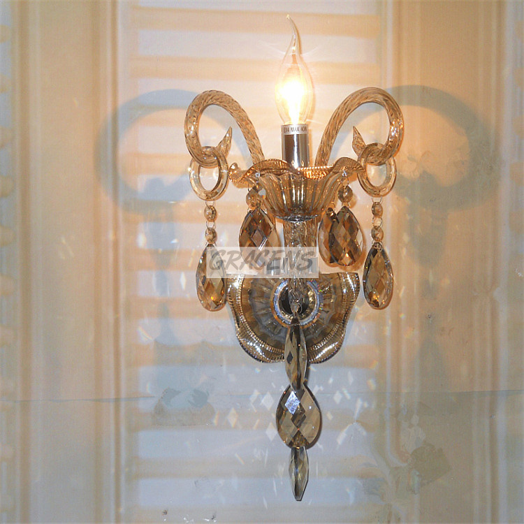 NEW! Free Shipping Luxury Bedside Lamp Crystal <font><b>Wall</b></font> <font><b>Sconce</b></font> <font><b>with</b></font> K9 Crystal for Home Decor (A WLSPGY10-1) W230*H430mm