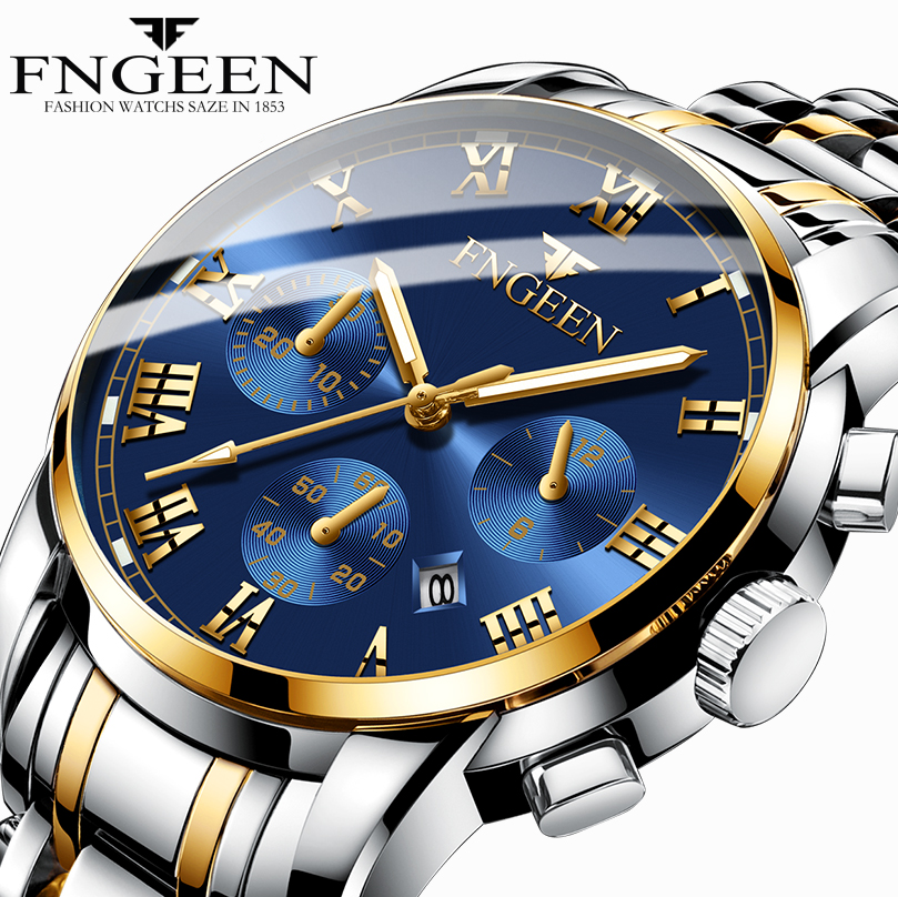 Top Brand FNGEEN Watch Men Stainless Steel Business Mens Luxury Male Clock Men's Waterproof Quartz Watches Date Wrist Watch 2019