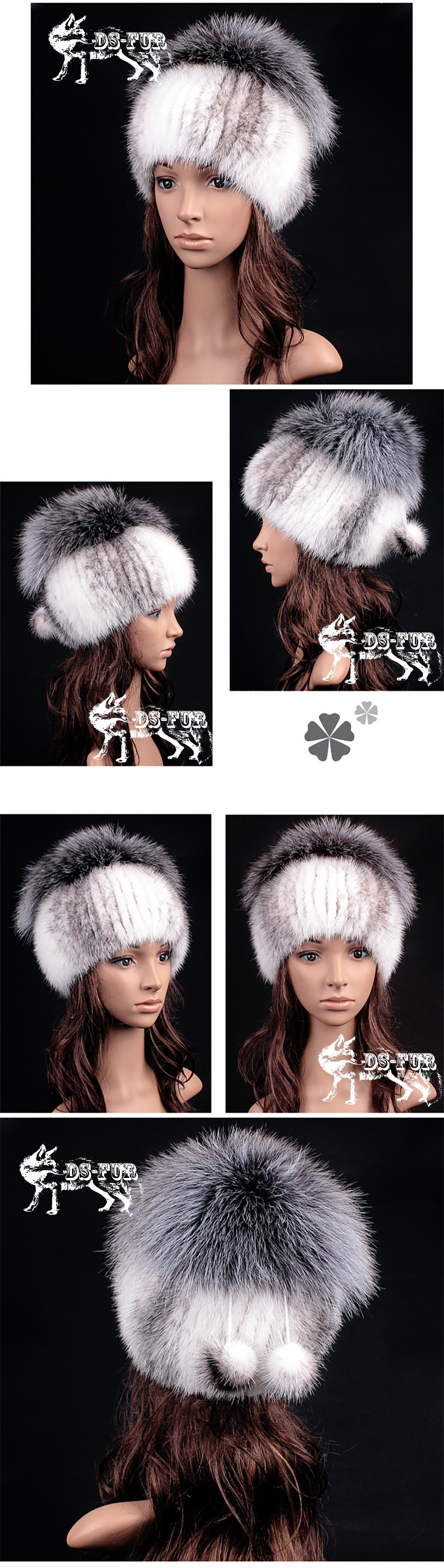 Mink fur knitting hat silver fox hair pom 02