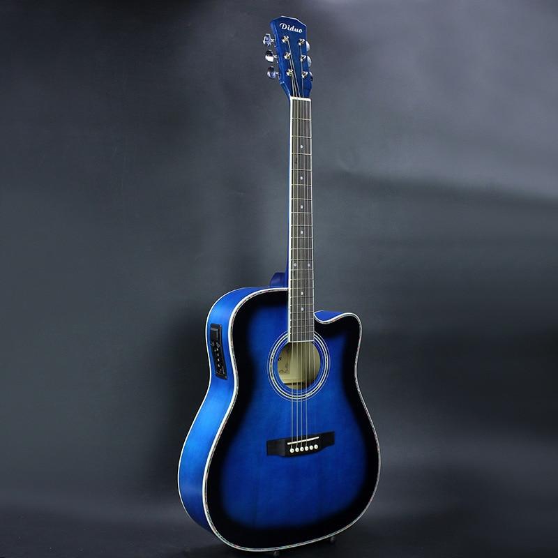 Guitare acoustique peinture brillante 41 pouces touche en palissandre guitarra avec cordes accordeur