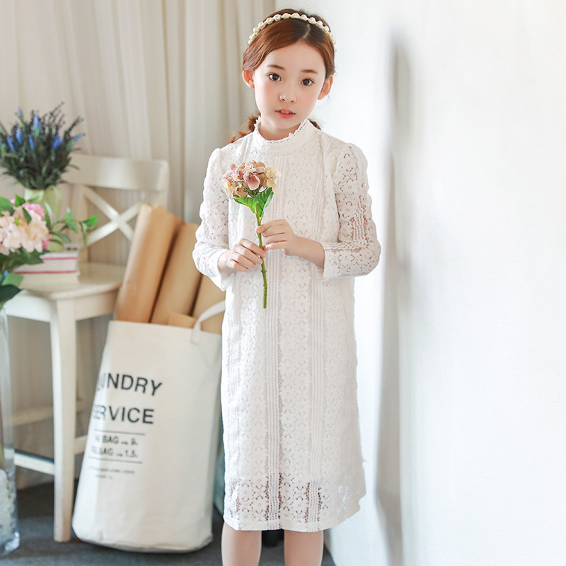 Girls Evening Dress Autumn Long Sleeved Lace Princess Dresses Children Clothes 2-16Y Baby Girl Costume Kids Birthday Party Dress children s girls autumn long sleeved korean lace princess dress kids clothing mesh lace white