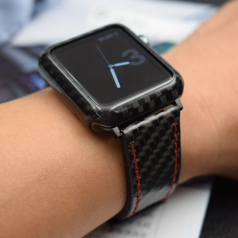 buy online 2d77d a25f3 US $31.92 20% OFF For Apple Watch Series 4 Band Real Carbon Fiber Watch  Straps For Apple Watch Series 1 2 3 iWatch 38 4mm Men's Wrist Bracelet-in  ...