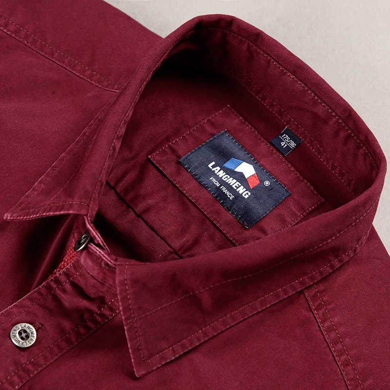 LANGMENG ブランド綿 100% の高品質メンズスタイリッシュシャツ長袖アーミーグリーンカジュアルシャツメンズ使い古す SizeXS-3XL