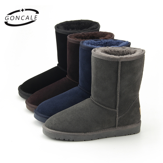 2017 High Quality Band Snow Boots Women Fashion Genuine Leather women 39 s winter boots  with fur Famale Winter shoes Black