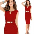 Women Bodycon Pencil Dresses Sexy Elegant Office Look Red Black Color Sheath Dress V-neck Short Sleeve