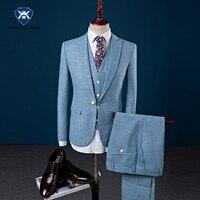 3 Stücke Slim Fit Männer Anzüge Sky Blue Blazer Neueste Mantel hose Designs Bräutigam Hochzeitsanzug Kleid 2017 Smoking Beige Leinenanzug männlich