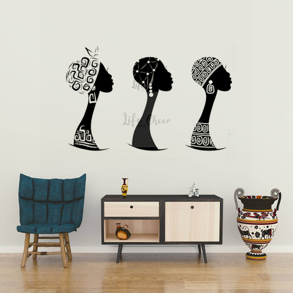 Afrika Lady Vinil Duvar Çıkartması Geleneksel Güzellik Kadın Kafa Duvar Sticker Ev Iç Duvar Dekorasyonu Afrika Kızlar Resimleri AC125