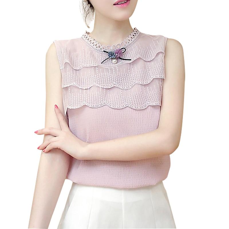 White Black Blouses Shirts Lace Chiffon Sleeveless Summer