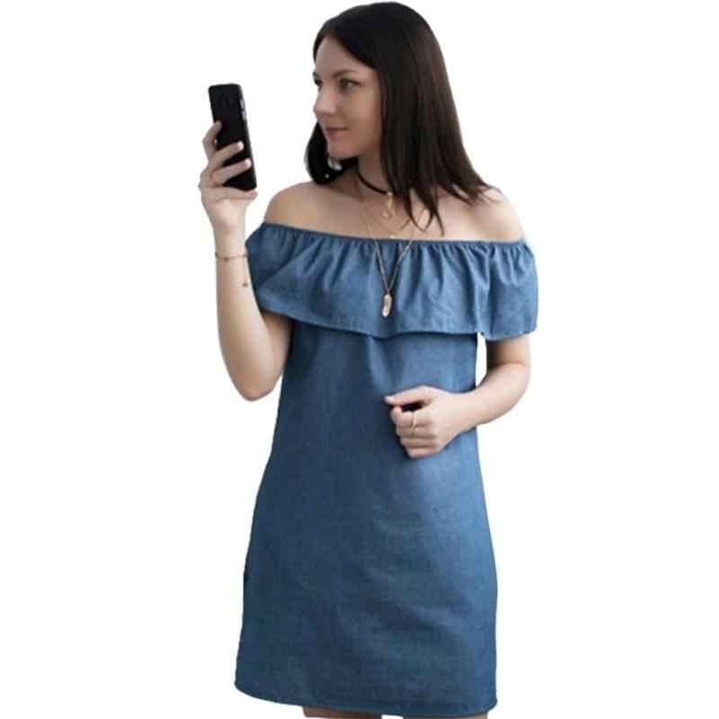 Женское летнее сексуальное платье из джинсовой ткани от плеча собранное в сборки 2018 Новое поступление однотонное повседневное Плиссированное мини-платье