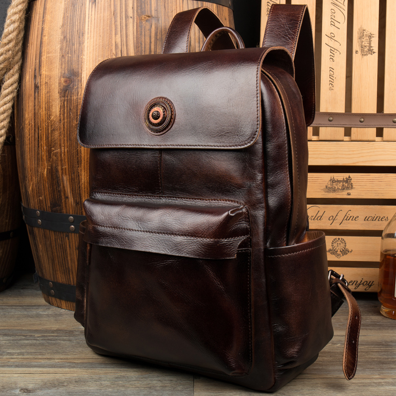 100% Genuine Leather Backpack Large Capacity Cow Leather Travel Bags High Quality Business Bag For Man /Women Vintage Laptop Bag cow leather man backpack 100