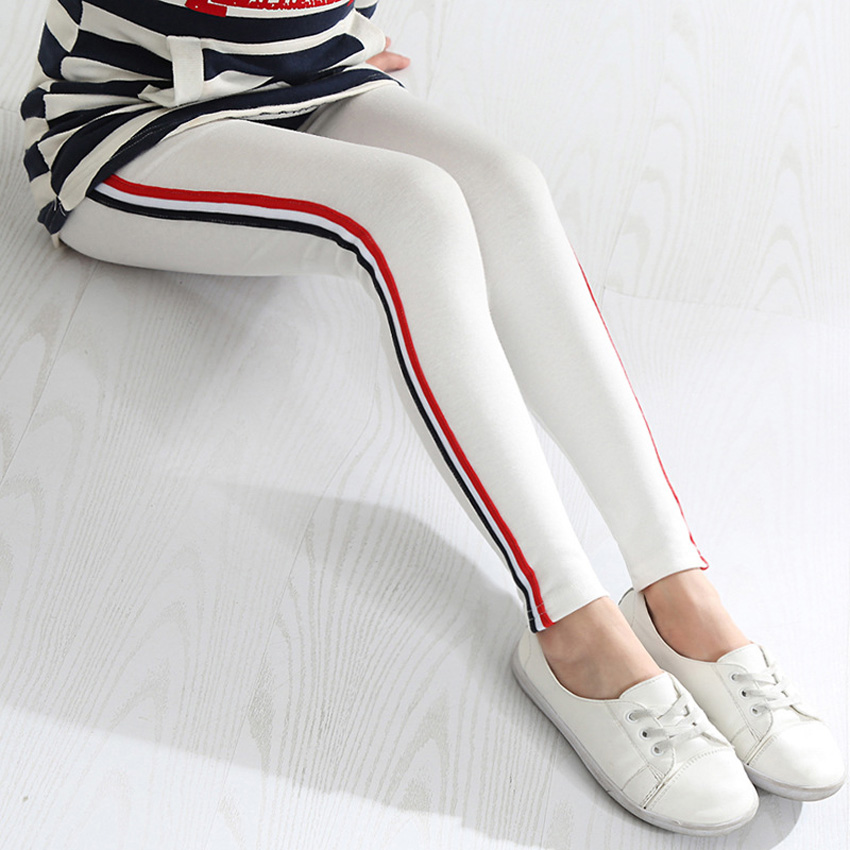 CHINGROSA Girls Striped Cotton Blend Leggings Skinny Pants Kids Fille Leggings Tayt Children Clothes Meninas Polainas Perneiras