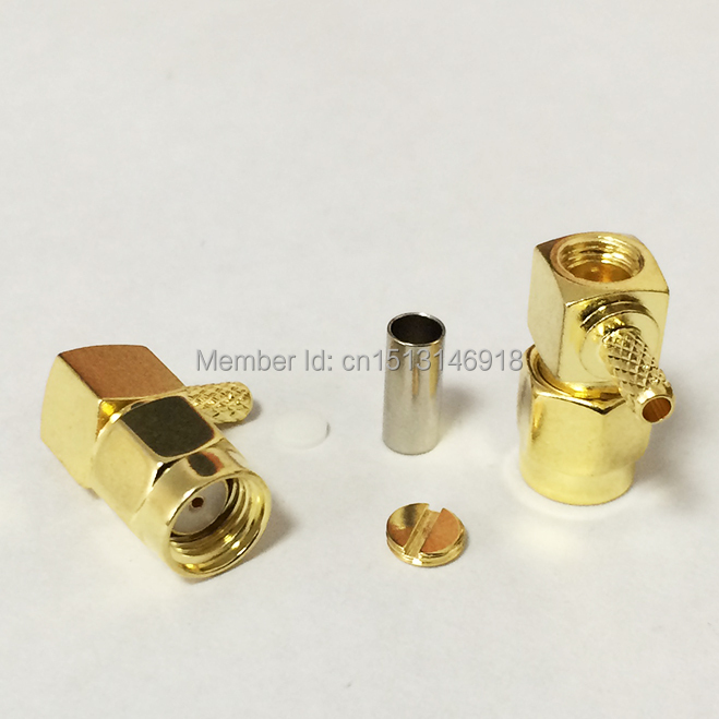 1pc RP SMA  Male Plug RF Coax Connector Crimp RG316 RG174 LMR100 Right  Angle Connector Goldplated NEW wholesale dhl ems 2 lots 100pcs connector sma male plug crimp rg174 rg316 lmr100 cable straight d2