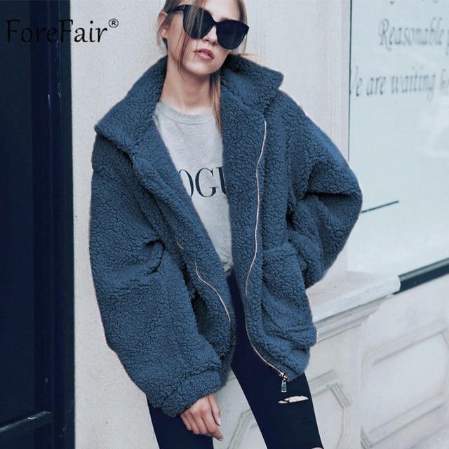 Forefair Mùa Đông Quá Khổ Faux Fur Coat Phụ Nữ Tự Nhiên Lông Gấu Bông Áo Khoác Túi Ve Áo Thường Lỏng Lẻo Cộng Với Kích Thước Áo Khoác