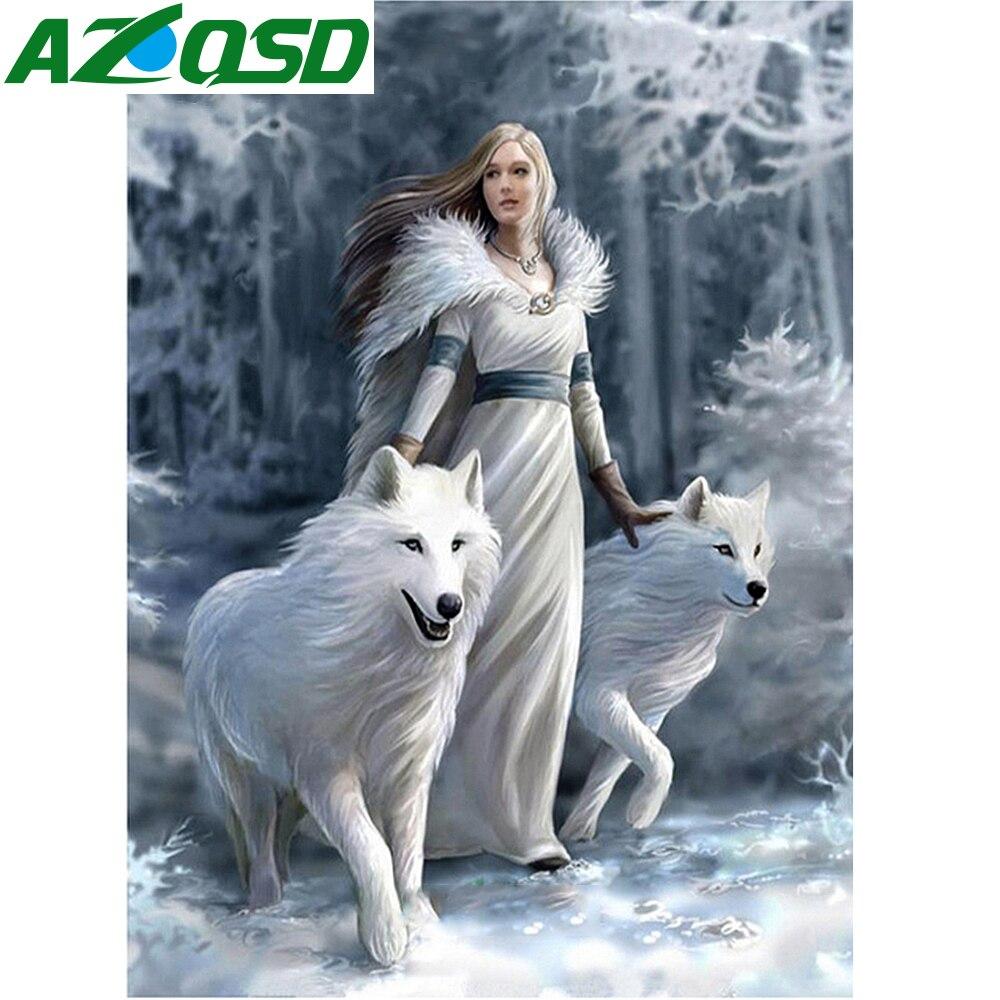 AZQSD Diamond Painting Cross Stitch Wolf Needlework Diamond Mosaic Animal Pictures of Rhinestones Home Decor 5D DIY Winter