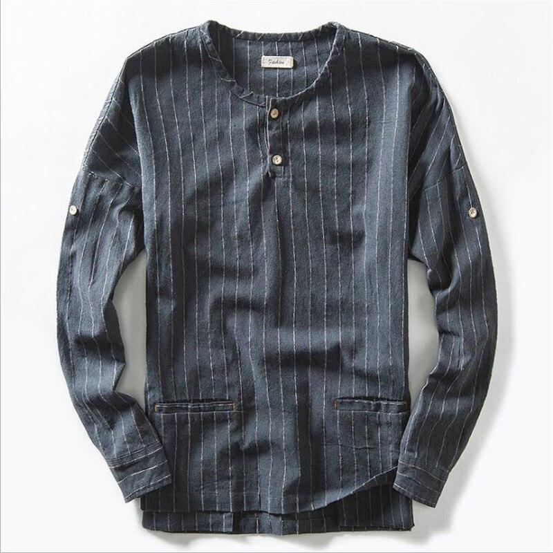 2017 Autumn New Striped Shirt Men Casual Cotton Linen