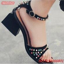 Hoof Heels Buckle Strap Women Sandals Med Heels Colorful Bling Crystal Shoes Women Open Toe Rivet Ethic Style Women Casual Shoes