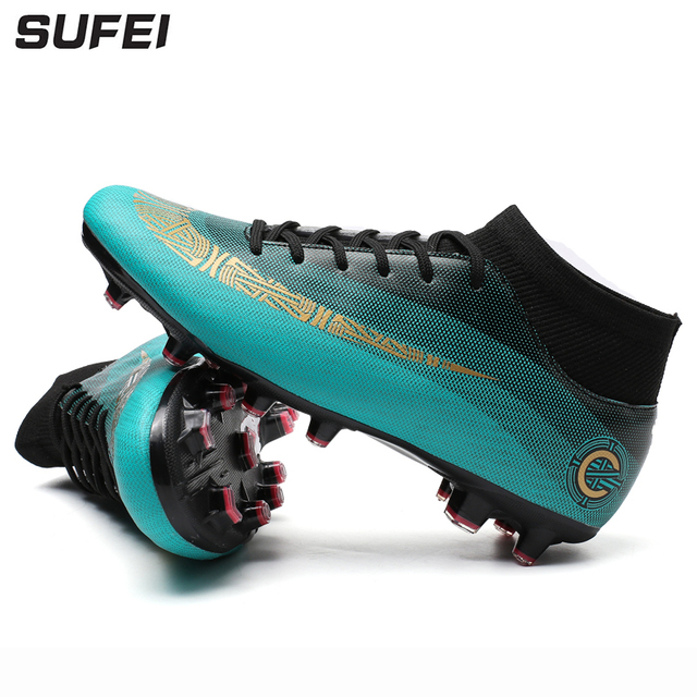sufei 2018 Men Soccer Shoes Superfly Outdoor Ankle Breathable Kids Football  Boots Cheap Training Cleats Sport Trainer cd319e69d