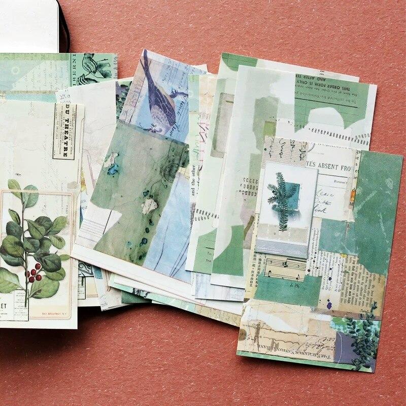 18Pcs/pack Vintage Handmade Material Background Sticker Scrapbooking Creative DIY Diary Decorative Flake Bullet Journal Supplies