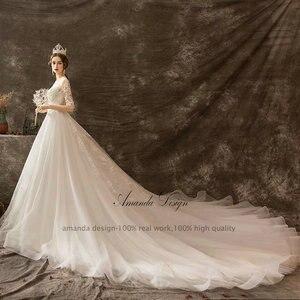 Image 4 - Amanda Design mariage Half Sleeve Lace Appliqued Beading Wedding Dress