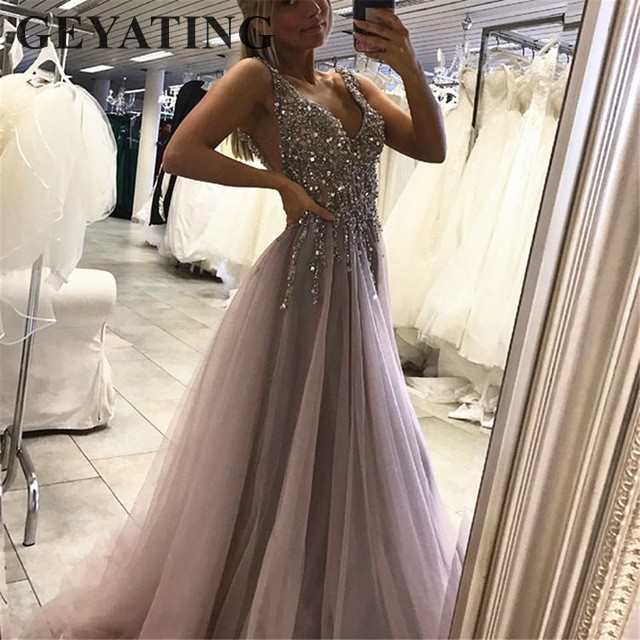 Sexy Deep V-Neck Backless Crystals Beaded Evening Dress 2019 Elegant High  Split Tulle Grey Prom Dresses Women Formal Party Gowns 3f6a11e0d56d