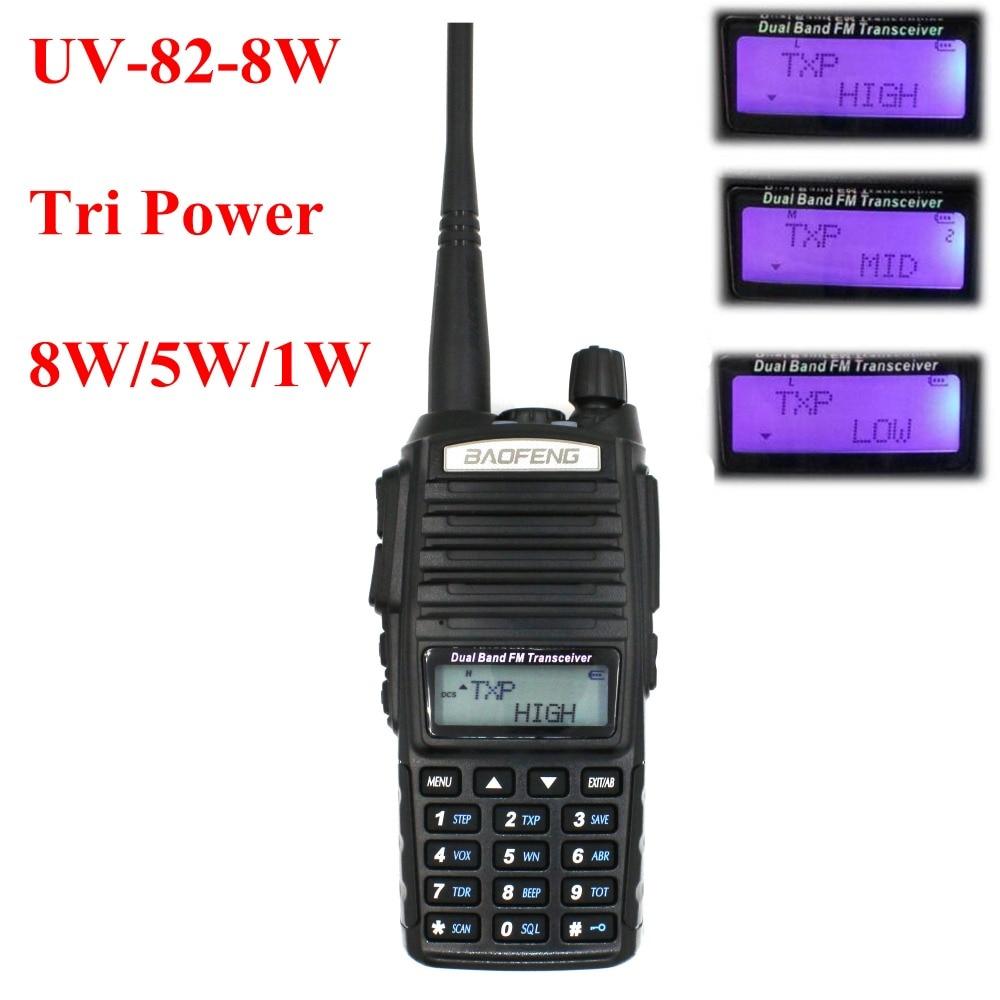 Two way radio BAOFENG UV-82 8 W Tri-Puissance 136-174 et 400-520 MHz double bande de poche FM Émetteur-Récepteur UV82 Radio talkie walkie