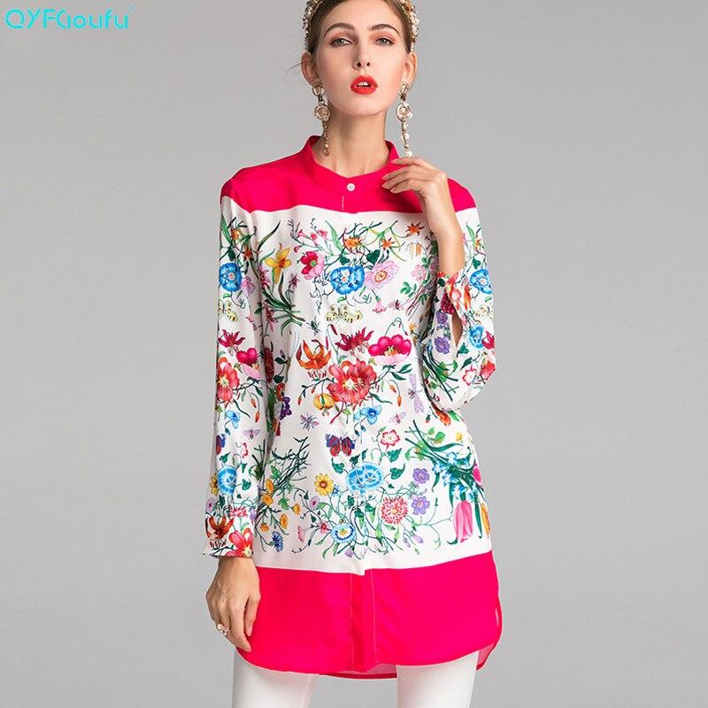 QYFCIOUFU nouvelle mode grande taille longue Blouse femmes 2019 été à manches longues imprimé Floral haute piste hauts amples et chemise