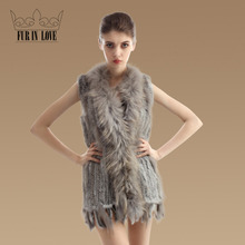 2016 New Natural Knit Rabbit Fur Vest With Real Racoon Fur Collar Gilet Women Winter Warm Genuine Rabbit Fur Waistcoat