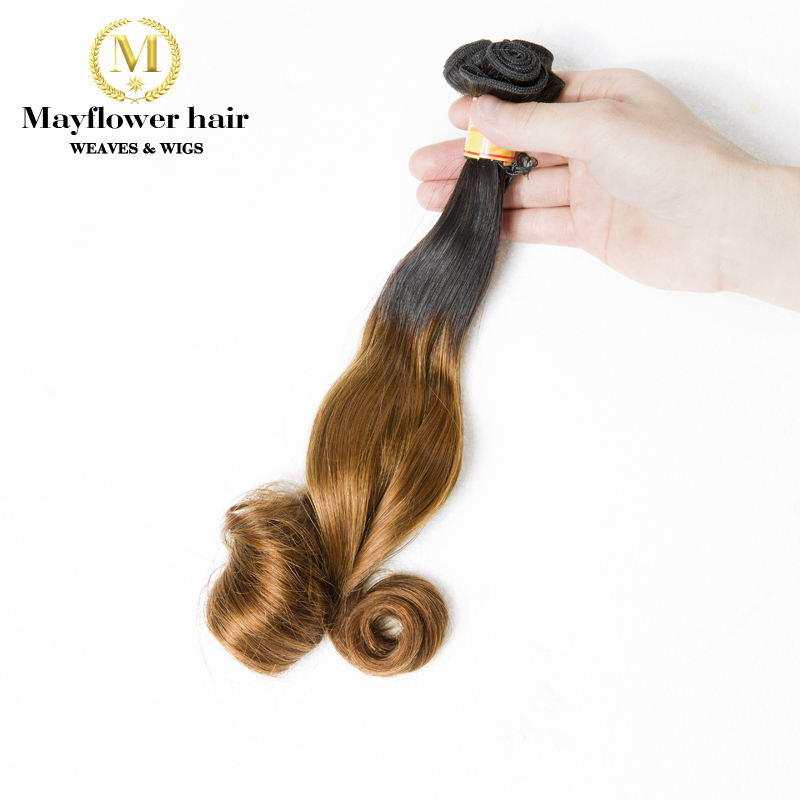Mayflower One bundle Aunty Funmi hair bouncy magic curl or Egg curl Ombre Color 1B/4 Dou ...