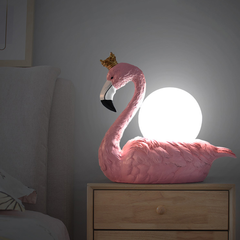 Pink Flamingo Wearing A Crown Night Light Baby Bedroom Lamps  ABS LampShade Sleep Led Kid Lamp E14 Bulb Nightlight For Children