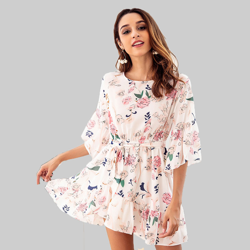 Women's O-Neck Dresses White Floral Print Flare Half Sleeve Female Asymmetric Flouncing Dress Summer Women A-Line Mini Dress