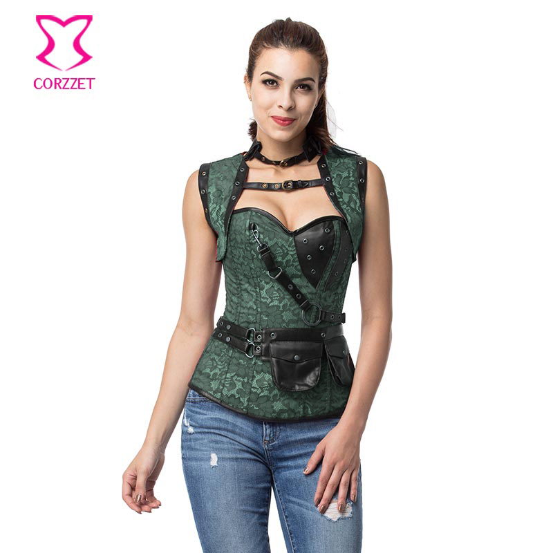 Gothic Green/Black Jacquard Floral Overbust Corset Steampunk Clothing Korsett For Women Corselet Plus Size Corsets And Bustiers