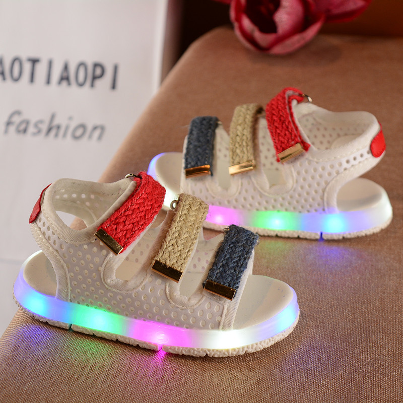 2017 Summer Colorful LED Kid Sandals For Girls And Boys Mixed Color PU Leather Baby Shoes