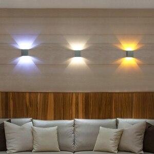 Image 2 - 3pcs/lot Square Led Wall Lamp Sconce Led wall Light arandelas para parede Aluminum 3W 110V 220V KTV BAR Step Stair Foyer JQ