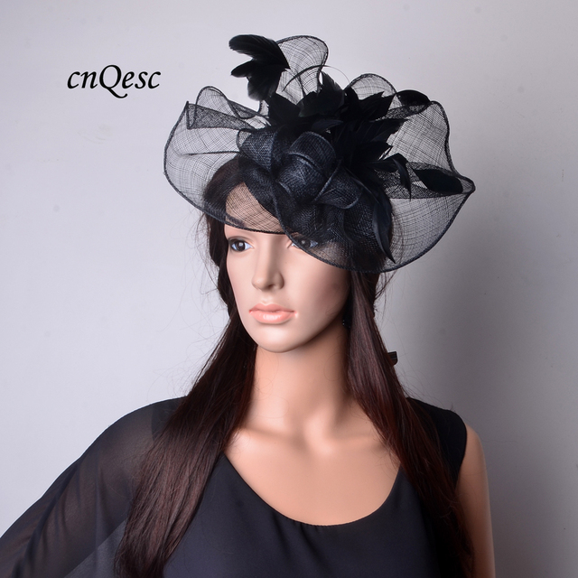 2019 NEW two sides Black Church hat Big Sinamay fascinator with feather  flower for Kentucky Derby 527e3b10d404