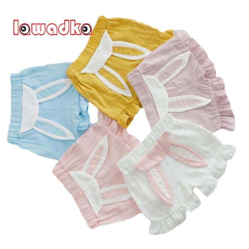 Lawadka Cute Rabbit Pattern Cotton Linen Baby Pants Princess Style Baby Girls Pants Summer Style