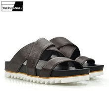 Top Quality Mens Summer Leisure Indoor Slippers Genuine Leather Beach Sandals Non-slip Platform Bathing Slides Shoes Plus Size
