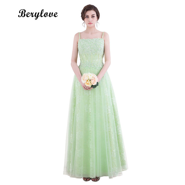 fc0f74d65be BeryLove Light Green Lace Prom Dresses 2018 Long Spaghetti Straps Evening  Dresses Elegant Evening Gowns Formal Party Dress