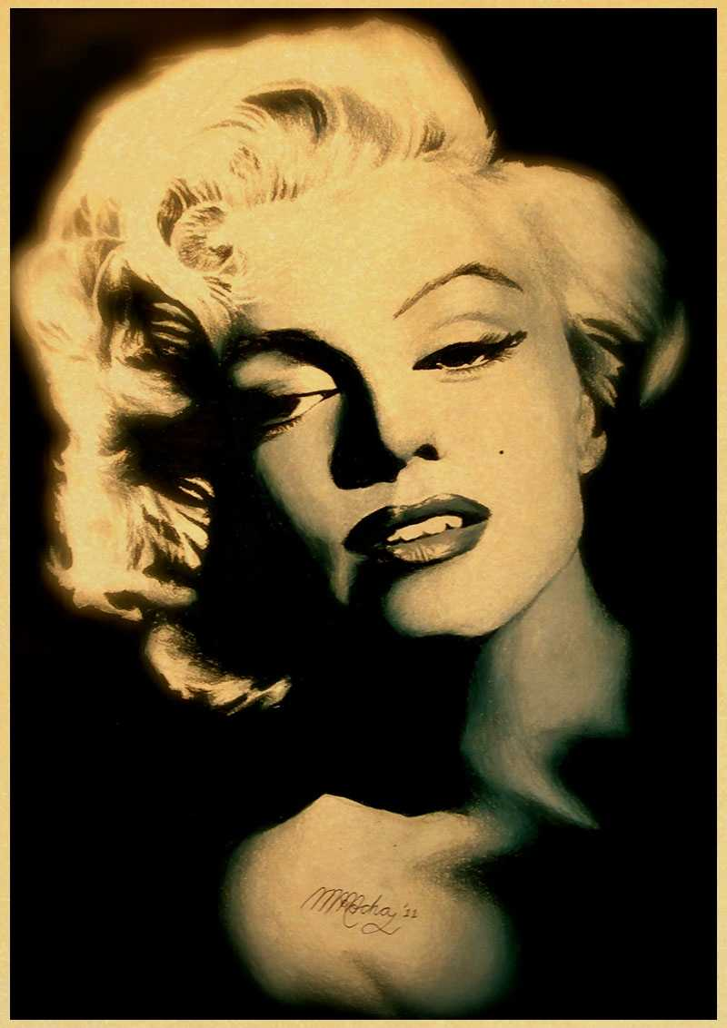Marilyn Monroe Poster Vintage Classic Marilyn Monroe Poster Cafe Bar Home Decor Painting Retro Kraft Paper Wall Sticker Wallpaper