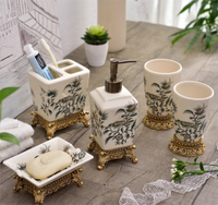 American Country Ceramic Bathroom Set Porcelain 5PCS Liquid Soap Dispenser Toothbrush Holder Practical Home Decoration LFB279