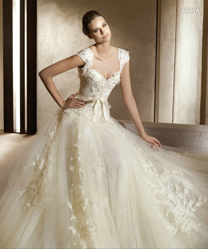 Wa0331 Elegant Cap Sleeve Elie Saab Lace And Tulle Skirt Country Wedding Dresses