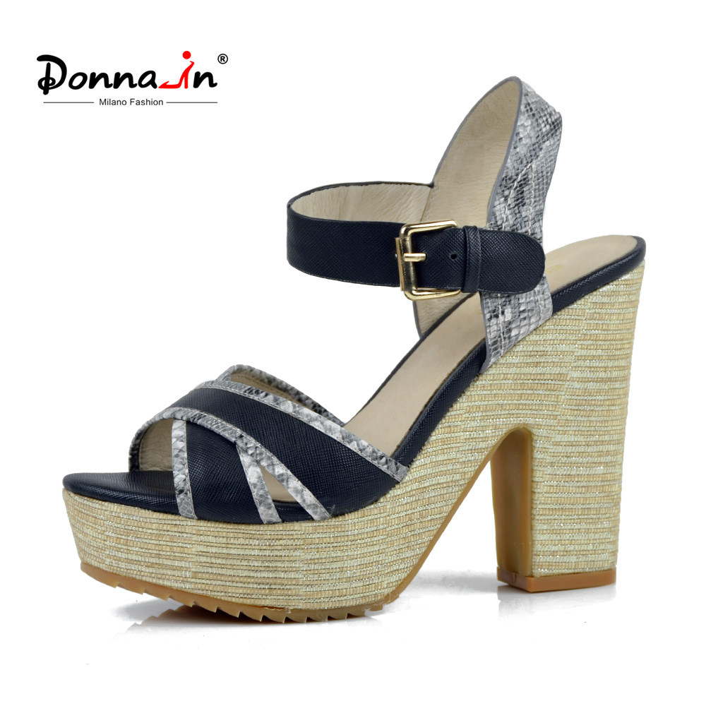 Donna-in Summer New Arrival Women Sandals Ladies Shoes Platform High Heels Wedge Sandals Open Toe Leather Sandals For Women mvvjke summer women shoes woman genuine leather flat sandals casual open toe sandals women sandals