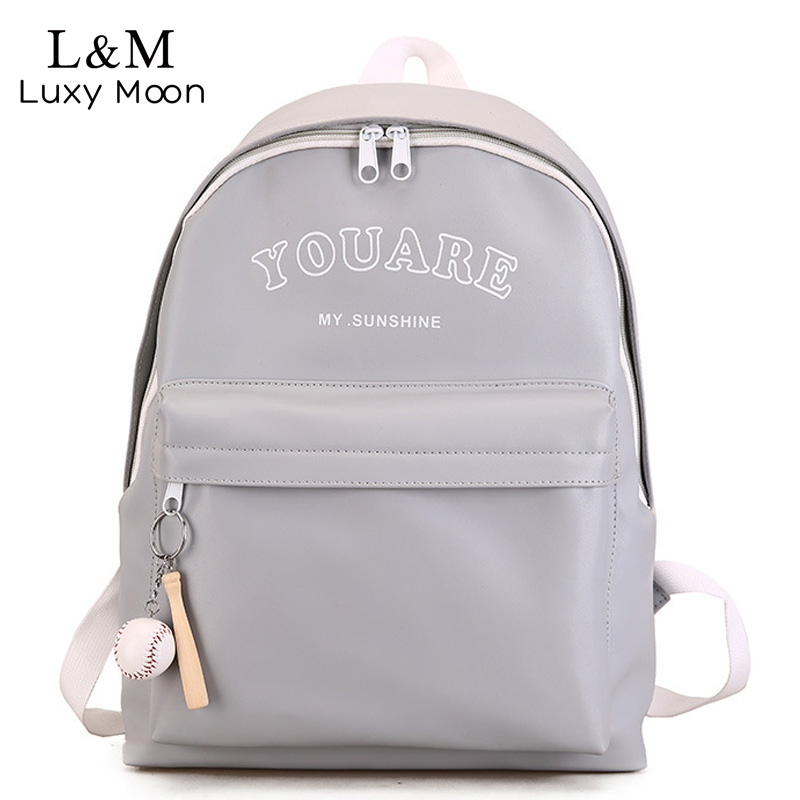 Grey Backpack Women Large School Backpacks For Teenage Girls Travel Bags PU Leather mochila Pink Students Letter Bag New XA1130H