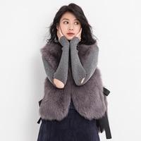 2017 Sonbahar Ve Kış Yeni Desen Bütün Cilt Tilki kürk Çim Yelek Kadın Fon Chalaza Kendini yetiştirme Ince Ve Kürk ceket