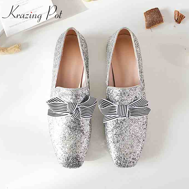 Krazing pot new sequined cloth butterfly-knot bling shiny real leather women low heels women plus size Autumn pregnant shoes L74